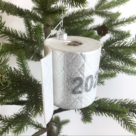 2020 Toilet Paper Christmas Ornament Glass Glitter--Robert Stanley